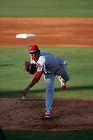 Clearwater Threshers starting pitcher Ranger Suarez (19) delivers a pitch during a game against the Bradenton Marauders on July 24, 2017 at LECOM Park in Bradenton, Florida.  Bradenton defeated Clearwater 6-3  (Mike Janes/Four Seam Images)