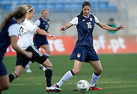 US's Yael Averbuch fights for the ball with Germany's Lena Goebling during their Algarve Women's Cup soccer match at Algarve stadium in Faro, March 13, 2013.  .Paulo Cordeiro/ISI