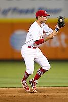Greg Garcia (7) of the Springfield Cardinals fields a ground ball during a game against the Arkansas Travelers at Hammons Field on June 13, 2012 in Springfield, Missouri. (David Welker/Four Seam Images)