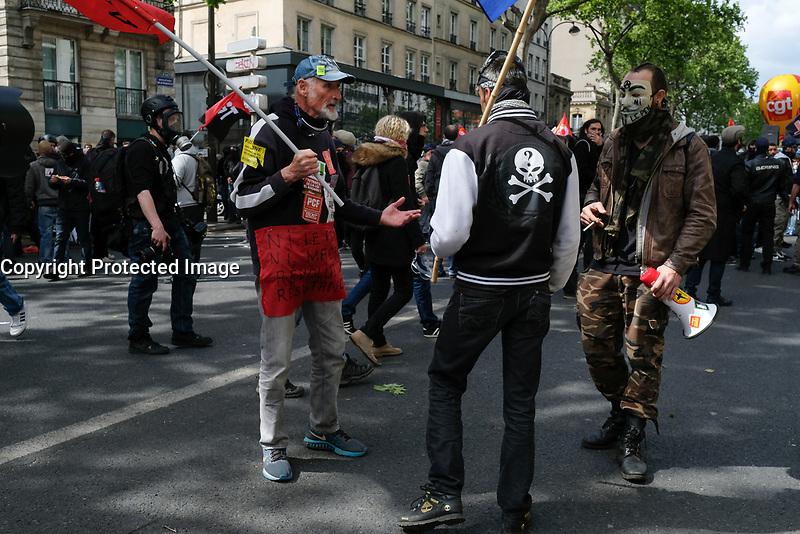 MANIFESTATION DU 1ER MAI A PARIS, FRANCE, LE 01/05/2017.