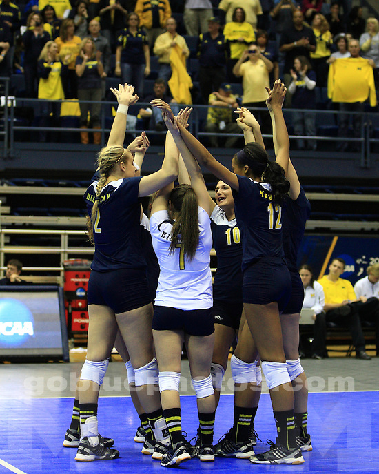 The University of Michigan women's volleyball team beat Stanford University, 3-1, in the NCAA Tournament Regional finals at Haas Pavilion in Berkeley, Calif., on December 8, 2012.