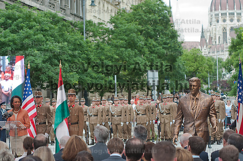 Condoleezza Rice (L) former minsiter of foreign affairs for the United States delivers her speech during the inauguration of the new statue of Ronald Reagan on the square named Freedom in Budapest, Hungary. Wednesday, 29. June 2011. ATTILA VOLGYI