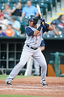 Colorado Springs Sky Sox shortstop Cristhian Adames (10) at bat during the Pacific League game against the Oklahoma City RedHawks at the Chickasaw Bricktown Ballpark on August 3, 2014 in Oklahoma City, Oklahoma.  The RedHawks defeated the Sky Sox 8-1.  (William Purnell/Four Seam Images)
