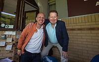 BBC Three Counties radio poses for a picture with BBC Presenter & Wycombe supporter Bill Turnbull during the Sky Bet League 2 match between Wycombe Wanderers and Stevenage at Adams Park, High Wycombe, England on 5 May 2018. Photo by Andy Rowland.