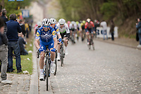 Julian ALAPHILIPPE (FRA/Deceuninck-Quick Step) avoiding the cobbles by riding the gutter<br /> <br /> 59th De Brabantse Pijl - La Flèche Brabançonne 2019 (1.HC)<br /> One day race from Leuven to Overijse (BEL/196km)<br /> <br /> ©kramon