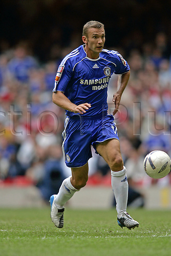 13 August 2006: Chelsea striker Andriy Shevchenko with the ball during The FA Community Shield played between Chelsea and Liverpool at the Millennium Stadium, Cardiff, Wales. Liverpool won the match 2-1. Photo: Glyn Kirk/Actionplus....060813 football soccer player