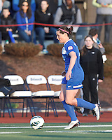 Boston Breakers defender Rhian Wilkinson (7) brings the ball forward.  In a National Women's Soccer League Elite (NWSL) match, the Boston Breakers (blue) tied the Washington Spirit (white), 1-1, at Dilboy Stadium on April 14, 2012.