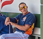 22 March 2015: Houston Astros infielder Carlos Correa sits in the dugout during a Spring Training game against the Pittsburgh Pirates at Osceola County Stadium in Kissimmee, Florida. The Astros defeated the Pirates 14-2 in Grapefruit League play. Mandatory Credit: Ed Wolfstein Photo *** RAW (NEF) Image File Available ***