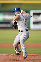 Dunedin Blue Jays pitcher Kendall Graveman (33) delivers a pitch during a game against the Clearwater Threshers on July 1, 2014 at Bright House Field in Clearwater, Florida.  Dunedin defeated Clearwater 1-0.  (Mike Janes/Four Seam Images)
