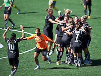 FC Gold Pride celebrates their victory over the Philadelphia Independence 4-0, to capture the 2010 WPS Championships in Hayward, Calif., Sunday, September 26, 2010.