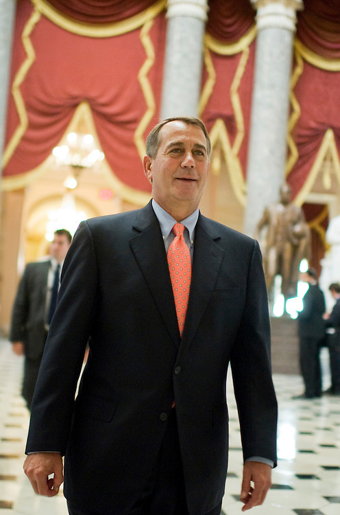 UNITED STATES - JULY 29:  Speaker John Boehner, R-Ohio, walks through Statuary Hall as House voted on his plan to raise the debt ceiling called the Budget Control Act.  The bill passed and will be brought to the Senate.(Photo By Tom Williams/Roll Call)