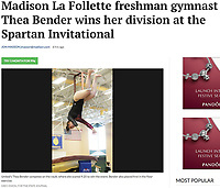United (Madison East & La Follette) gymnast, Thea Bender, completes her first vault on Saturday. Bender scores 9.250 in the vault during Spartan Invitational girls high school gymnastics at Memorial High School on Saturday, 1/26/19 in Madison, Wisconsin. Bender goes on to place first in the White Division of the competition, with an overall score of 35.700 | Wisconsin State Journal article page B5 Sports 1/27/19 and online at https://madison.com/wsj/sports/high-school/gymnastics/madison-la-follette-freshman-gymnast-thea-bender-wins-her-division/article_9d6a73e7-4ca6-52c9-91bc-bc29ca820cad.html