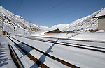Snow covered Realp railway station in the Swiss alps- after travelling through the Furkapass in the alps, Realp, Switzerland.