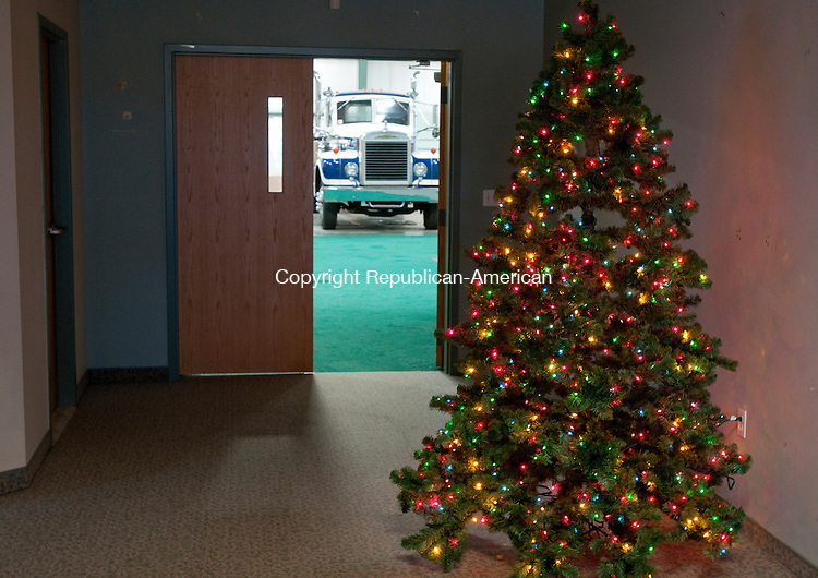 MIDLEBURY, CT, 18 NOVEMBER 2010-111810JS01--FOR O'ROURKE BRASS TACK.. A Christmas tree stands in the lobby of the Golden Age of Trucking Museum in Middlebury. <br />  Jim Shannon Republican-American