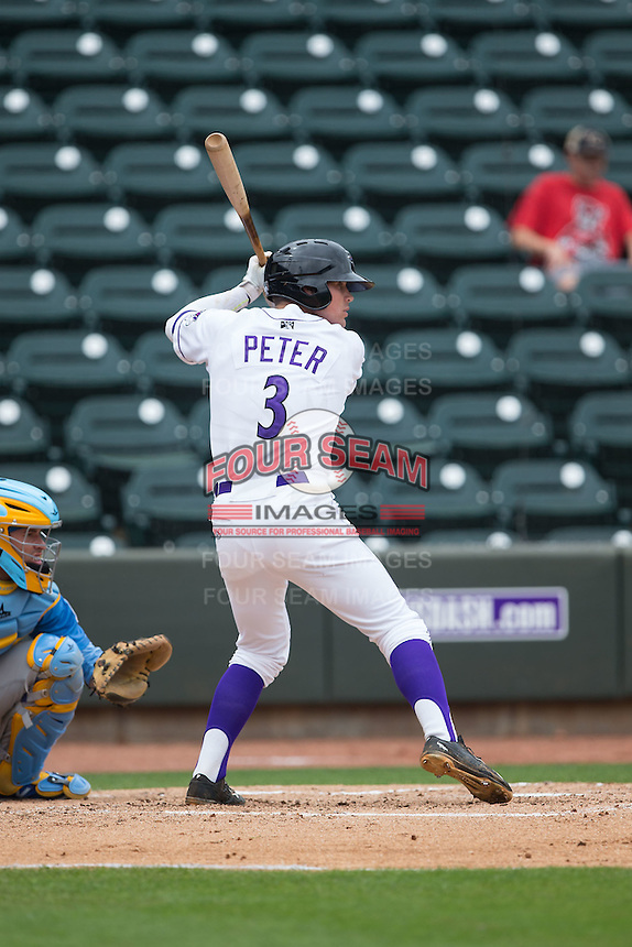 Jake Peter (3) of the Winston-Salem Dash at bat against the Myrtle Beach Pelicans at BB&T Ballpark on May 10, 2015 in Winston-Salem, North Carolina.  The Pelicans defeated the Dash 4-3.  (Brian Westerholt/Four Seam Images)