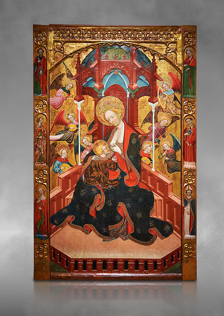 Gothic Altarpiece of the Madonna Nursing or Madonna Lactans, by Ramon de Mur, active around Tarrega and Montblanc circa 1412-1435, tempera and gold leaf on for wood, from the parish church of Santa Maria de Cervera (Segarra),  National Museum of Catalan Art, Barcelona, Spain, inv no: MNAC  15818. Against a grey art background.