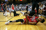 UNLV's Derrick Jones, Jr. injures his ankle after a collision with a referee during a men's college basketball game against Nevada in Reno, Nev., on Saturday, Jan. 23, 2016. Jones did return to the game. Cathleen Allison/Las Vegas Review-Journal