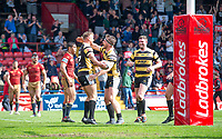Picture by Allan McKenzie/SWpix.com - 22/04/2018 - Rugby League - Ladbrokes Challenge Cup - York City Knight v Catalans Dragons - Bootham Crescent, York, England - Joe Porter's try is celebrated by Andy Ellis.