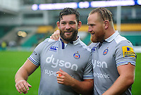 Nathan Catt and Ross Batty of Bath Rugby after the match. Aviva Premiership match, between Northampton Saints and Bath Rugby on September 3, 2016 at Franklin's Gardens in Northampton, England. Photo by: Patrick Khachfe / Onside Images