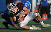 Matthew Granville #30 of Garden City recovers a Long Beach fumble during the Nassau County varsity football Conference II semifinals at Hofstra University on Saturday, Nov. 12, 2016. Garden City won by a score of 36-8.