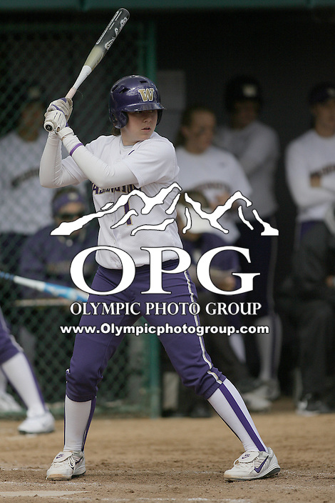 23 May 2010:  Washington Huskies catcher Shawna Wright sets up in the batters box against the University of North Carolina.  Washington defeated the University of North Carolina 2-1 in eight innings at Husky Softball Stadium in Seattle, WA to advance in the NCAA regional tournament.
