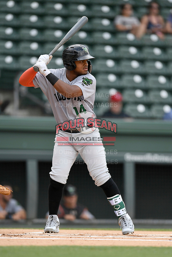 Center fielder Heliot Ramos (14) of the Augusta GreenJackets bats in a game against the Greenville Drive on Thursday, May 17, 2018, at Fluor Field at the West End in Greenville, South Carolina. Augusta won, 2-1. (Tom Priddy/Four Seam Images)