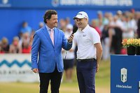 Shane O'Donoghue with winner Russell Knox (SCO) at the end of Sunday's Final Round of the 2018 Dubai Duty Free Irish Open, held at Ballyliffin Golf Club, Ireland. 8th July 2018.<br /> Picture: Eoin Clarke | Golffile<br /> <br /> <br /> All photos usage must carry mandatory copyright credit (&copy; Golffile | Eoin Clarke)