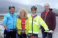 Michael Murphy, Sneem, Ann O'Sullivan, Breakthrough Breakthrough Cancer Research, Louis Moriarty, The Sneem Hotel and Pat Forde, Breakthrough Cancer research pictured at the half way break at Kilmackillogue Harbour in County Kerry whilst taking part in the annual Sneem Cycle, &ldquo;Wild Atlantic Challenge Charity Cycle&rdquo; in aid of Cancer Research at the weekend.<br /> Photo Don MacMonagle<br /> <br /> repro free photo<br /> Further info: Ann O'Sullivan ann@breakthroughcancerresearch.ie