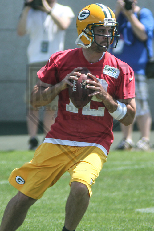GREEN BAY - May 2013: Aaron Rodgers (12) of the Green Bay Packers during an Organized Team Activity on May 21, 2013 at Clark Hinkle Field in Green Bay, Wisconsin. (Photo by Brad Krause)..