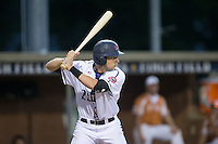 Drew Ellis (29) of the High Point-Thomasville HiToms at bat against the Asheboro Copperheads at Finch Field on June 12, 2015 in Thomasville, North Carolina.  The HiToms defeated the Copperheads 12-3. (Brian Westerholt/Four Seam Images)