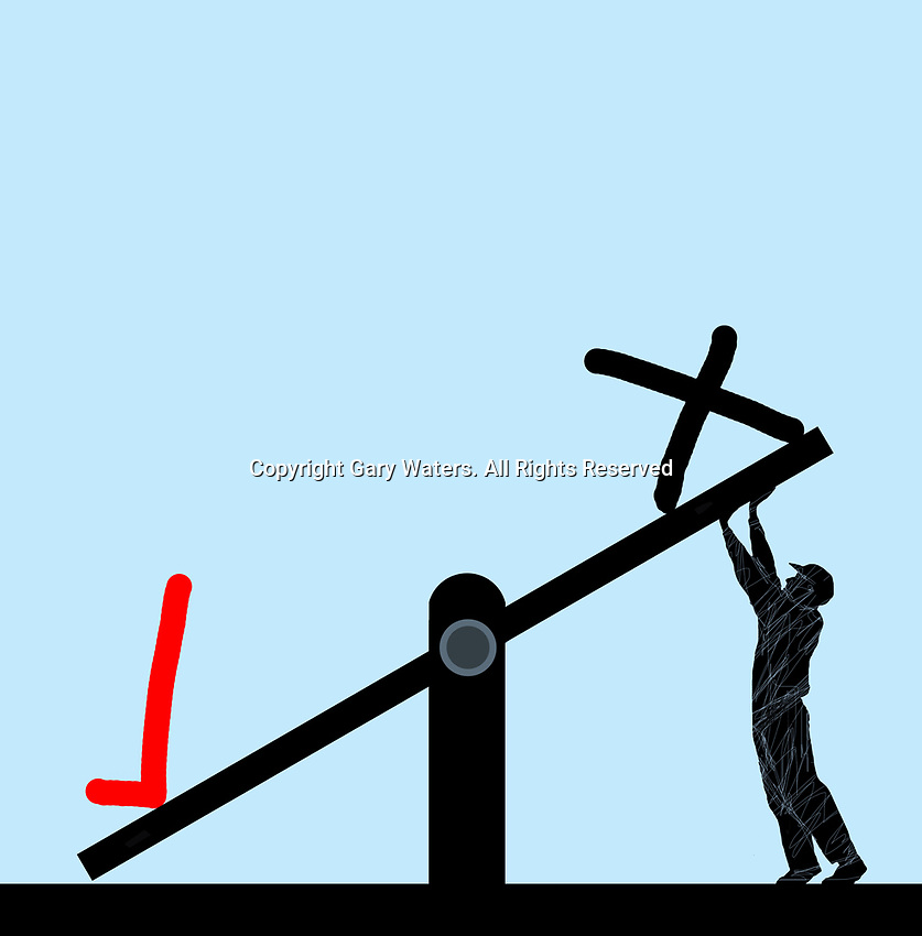 Man struggling to raise cross on seesaw rather than tick symbol