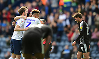 Preston North End's Daniel Johnson, centre, celebrates scoring his side's equalising goal with team-mates to make the score 1-1<br /> <br /> Photographer Chris Vaughan/CameraSport<br /> <br /> The EFL Sky Bet Championship - Preston North End v Reading - Saturday 15th September 2018 - Deepdale - Preston<br /> <br /> World Copyright &copy; 2018 CameraSport. All rights reserved. 43 Linden Ave. Countesthorpe. Leicester. England. LE8 5PG - Tel: +44 (0) 116 277 4147 - admin@camerasport.com - www.camerasport.com