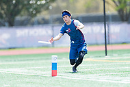 """Washington, DC - APR 22, 2018: DC Breeze Leo Pierson (78) catches a touchdown during AUDL game between DC Breeze and the Ottawa Outlaws. The DC Breeze get the win 26-19 over Ottawa in the Battle of the Capitals"""" at Catholic University Washington, DC. (Photo by Phil Peters/Media Images International)"""