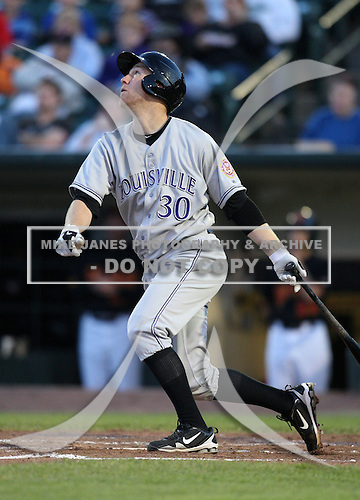 Louisville Bats Third Baseman Todd Frazier (30) during a game vs. the Rochester Red Wings Friday, May 14, 2010 at Frontier Field in Rochester, New York.   Rochester defeated Louisville by the score of 13-4.  Photo By Mike Janes/Four Seam Images
