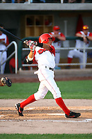 July 10th 2008:  Darwin Perez of the Orem Owlz, Rookie Class-A affiliate of the Los Angeles Angels of Anaheim, hits a home run in the 2nd inning during a game at Home of the Owlz Stadium in Orem, UT.  Photo by:  Matthew Sauk/Four Seam Images