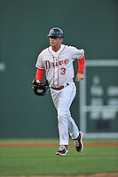 Manager Darren Fenster (3) of the Greenville Drive in a game against the Greensboro Grasshoppers on Tuesday, August 25, 2015, at Fluor Field at the West End in Greenville, South Carolina. Greensboro won, 3-2. (Tom Priddy/Four Seam Images)