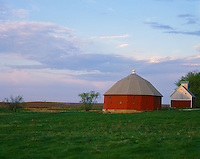 LaSalle County, IL<br /> Evening ligh on round barn &amp; fenced in spring pasture