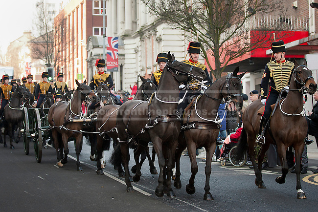07/02/2012. LONDON, UK. Kings Troop Royal Horse Artillery parades through Woolwich. Gunners of the Kings Troop, previously based at St John's Wood since 1947, today (07/02/12) today arrived at their new home at Napier Barracks in Woolwich Photo credit: Matt Cetti-Roberts