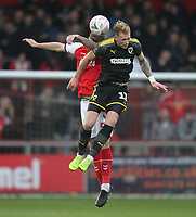 Fleetwood Town's Ashley Eastham battles with AFC Wimbledon's Mitch Pinnock<br /> <br /> Photographer Mick Walker/CameraSport<br /> <br /> Emirates FA Cup Third Round - Fleetwood Town v AFC Wimbledon - Saturday 5th January 2019 - Highbury Stadium - Fleetwood<br />  <br /> World Copyright © 2019 CameraSport. All rights reserved. 43 Linden Ave. Countesthorpe. Leicester. England. LE8 5PG - Tel: +44 (0) 116 277 4147 - admin@camerasport.com - www.camerasport.com