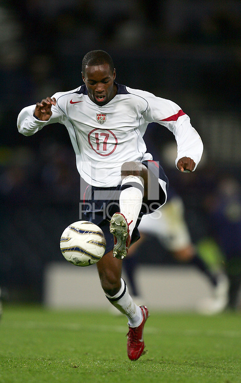 DaMarcus Beasley traps the ball. The USA tied Scotland 1-1 in an international friendly at Hampden Park in Glasgow, Scotland on November 12, 2005.