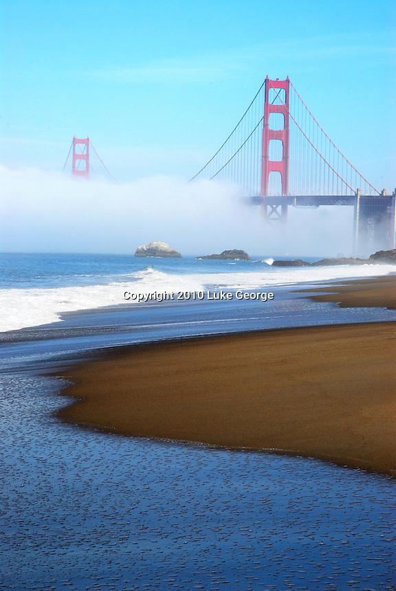 San Francisco Golden Gate Bridge, Bay Bridge, Coit Tower and Transamerica Building Scenic Stock Photographs