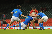 Wales Alisha Butchers is tackled by Italy&rsquo;s Lucia Gai and Elisa Giordano<br /> <br /> Photographer Ian Cook/CameraSport<br /> <br /> 2018 Women's Six Nations Championships Round 4 - Wales Women v Italy Women - Sunday 11th March 2018 - Principality Stadium - Cardiff<br /> <br /> World Copyright &copy; 2018 CameraSport. All rights reserved. 43 Linden Ave. Countesthorpe. Leicester. England. LE8 5PG - Tel: +44 (0) 116 277 4147 - admin@camerasport.com - www.camerasport.com