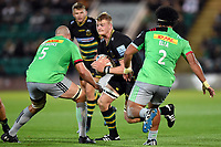 David Ribbans of Northampton Saints takes on the Harlequins defence. Gallagher Premiership match, between Northampton Saints and Harlequins on September 7, 2018 at Franklin's Gardens in Northampton, England. Photo by: Patrick Khachfe / JMP