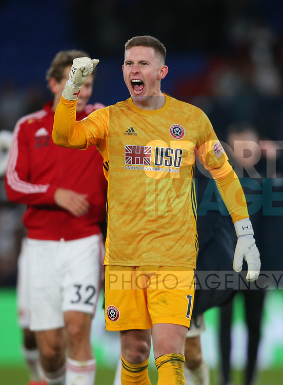 Dean Henderson of Sheffield Utd celebrates the win during the Premier League match at Selhurst Park, London. Picture date: 1st February 2020. Picture credit should read: Paul Terry/Sportimage