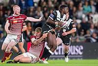 Picture by Allan McKenzie/SWpix.com - 08/09/2017 - Rugby League - Betfred Super League - The Super 8's - Hull FC v Wigan Warriors - KC Stadium, Kingston upon Hull, England - Hull FC's Masi Matongo is tackled by Wigan's Ryan Sutton.