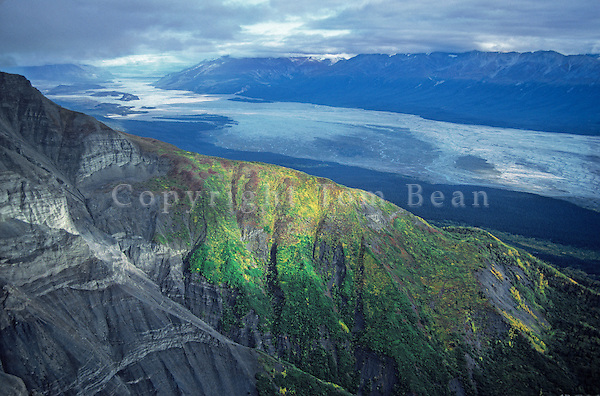 Upper Chitina River Valley viewed from MacColl Ridge in the Wrangell Mountains in Wrangell-Saint Elias National Park and Preserve; Alaska, TomBean_Pix_0749.