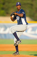 Relief pitcher Victor Mateo #40 of the Princeton Rays in action against the Burlington Royals at Burlington Athletic Stadium July 11, 2010, in Burlington, North Carolina.  Photo by Brian Westerholt / Four Seam Images