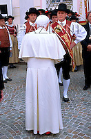 Pope Benedict XVI waves at the crowd as he arrives in Bressanone, near Bolzano, Italy . The Pontiff begun his Alpine vacation in this mountain resort of the Dolomites where he will remain until August 11.  ..July 28, 2008.