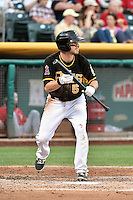 Shawn O'Malley (5) of the Salt Lake Bees squares to bunt during the game against the El Paso Chihuahuas in Pacific Coast League action at Smith's Ballpark on August 7, 2014 in Salt Lake City, Utah.  (Stephen Smith/Four Seam Images)