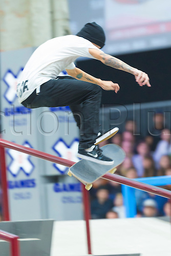 25.02.2016. Warehouse 13  Oslo, Norway.  X Games Oslo 2016. Mens Skateboard final.Luan Oliveira of Brazil competes in the men's skateboard street final  during the X Games Oslo 2016 at the warehouse 13  in Oslo, Norway.